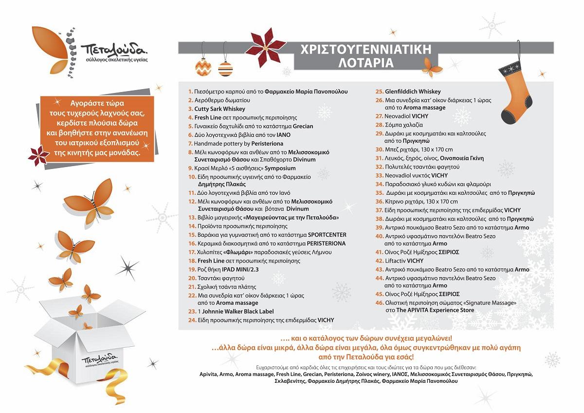 Η Πεταλούδα διοργανώνει Χριστουγεννιάτικη Λοταρία