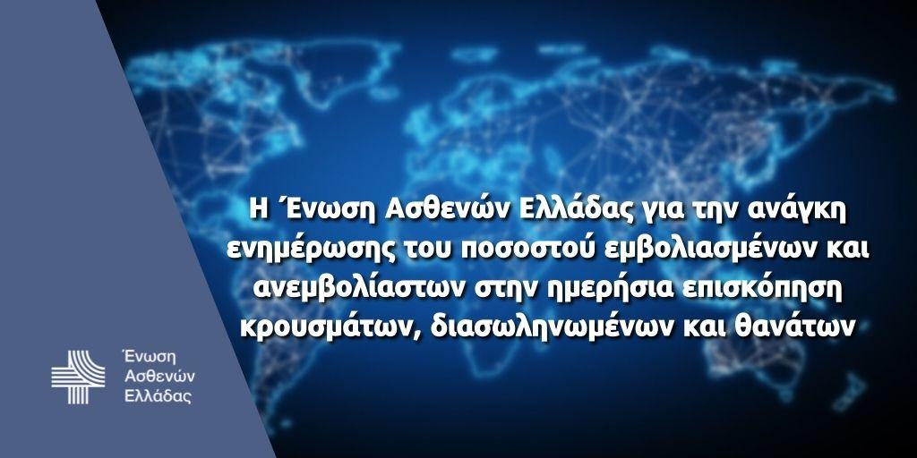 Η Ένωση Ασθενών Ελλάδας για την ανάγκη ενημέρωσης του ποσοστού εμβολιασμένων και ανεμβολίαστων στην ημερήσια επισκόπηση κρουσμάτων, διασωληνωμένων και θανάτων